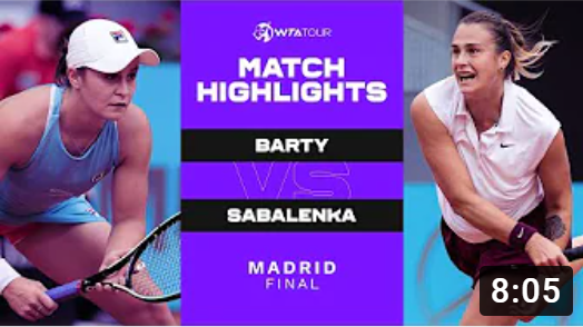 Теннис. WTA Мадрид. Финал. Эшли Бартли - Арина Сабаленка. Match VIDEO Highlights