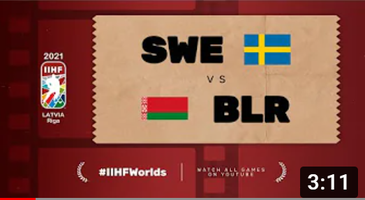 Хоккей. ЧМ в Латвии 2021. Швеция - Белорусь. Highlights