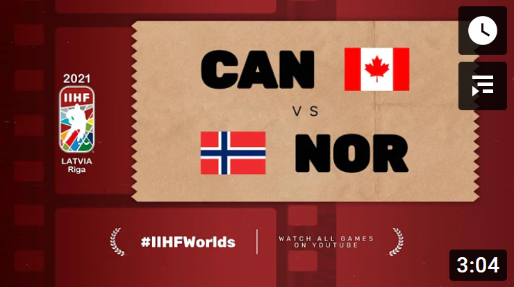 Хоккей. ЧМ в Латвии 2021. Канада - Норвегия. Highlights