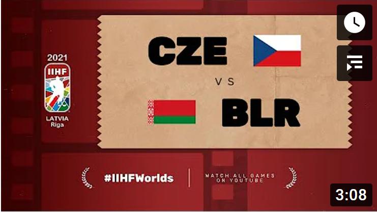 Хоккей. ЧМ в Латвии 2021. Чехия - Белорусь. Highlights