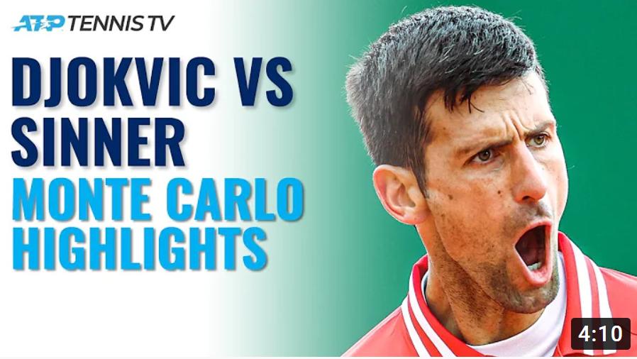 Теннис. ATP Monte-Carlo 2021. Highlights. Novak Djokovic vs Jannik Sinner