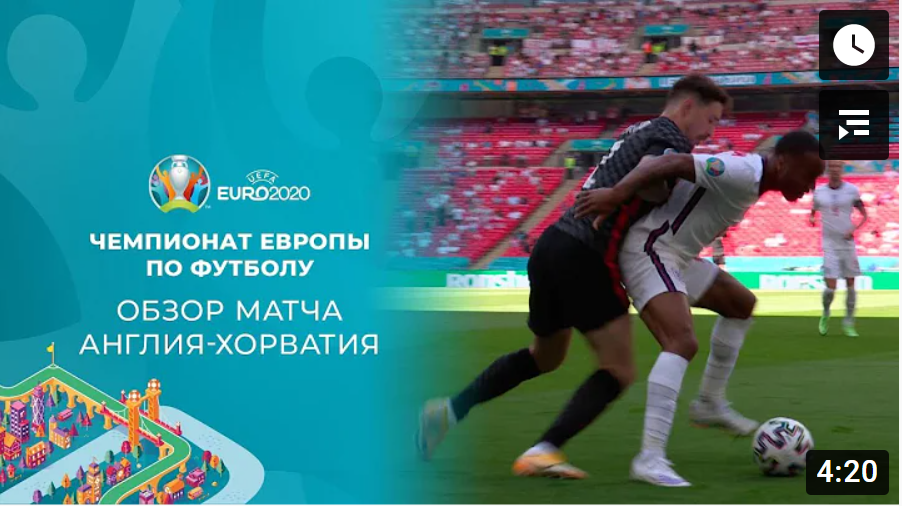EВРО-2020. Англия - Хорватия. Обзор лучших моментов матча