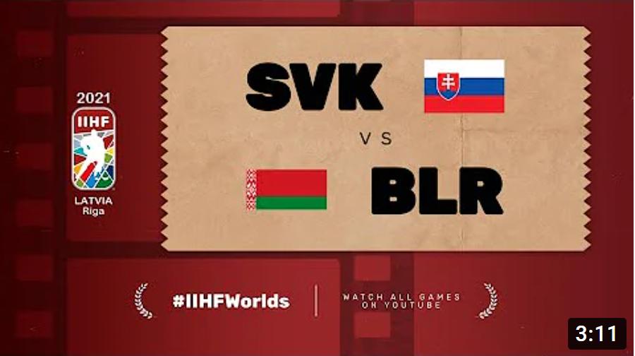 Хоккей. ЧМ в Латвии 2021. Белорусь - Словакия. Highlights