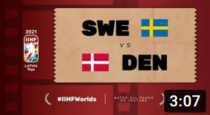 Хоккей. ЧМ в Латвии 2021. Швеция - Дания. Highlights
