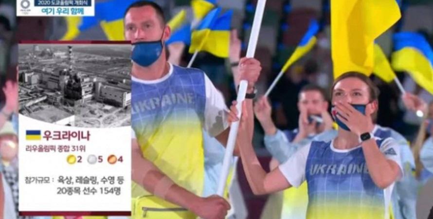Во время выхода спортсменов из Украины на церемонии открытия Олимпиады-2020 показали неуместное фото из Чернобыля